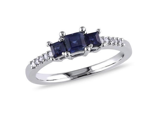 10k White Gold 3/5ct TGW Sapphire and 0.05ct TDW Diamond Three Stone Ring (H-I, I2-I3)
