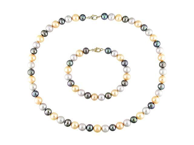 Amour 14k Yellow Gold Freshwater Multi-Color Pearl Set of Necklace and Bracelet