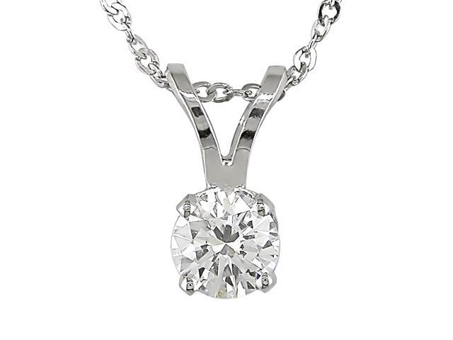 14K White Gold 1/4 ctw Diamond Solitaire Pendant