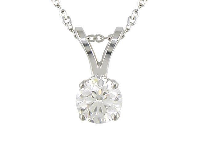 14K White Gold 1/3ctw Diamond Solitaire Pendant