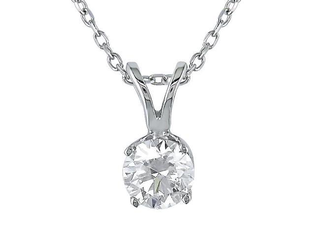 14K White Gold 1/2 ctw Diamond Solitaire Pendant