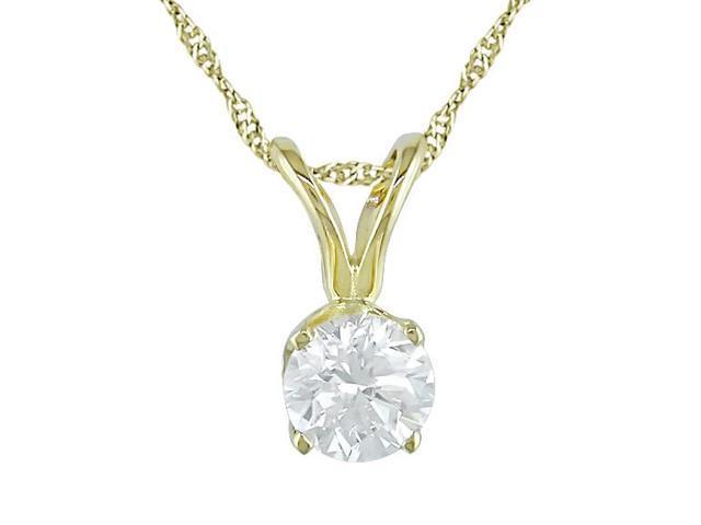 14K Yellow Gold 1/3 ctw Diamond Solitaire Pendant