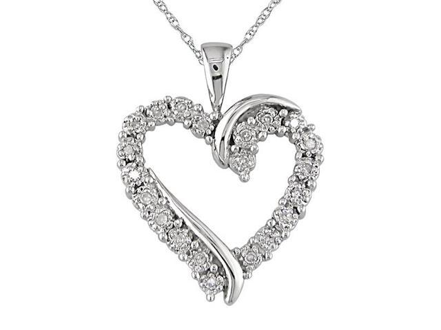 10K White Gold 1/10 ctw Diamond Heart Pendant