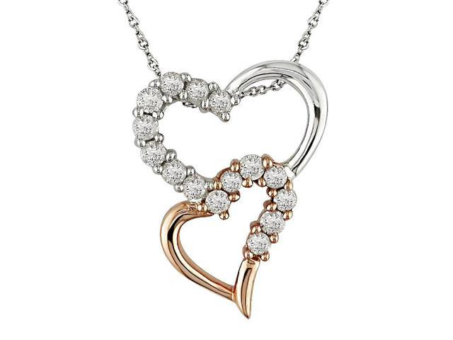 1/2 ct.t.w. Diamond Heart Pendant in 14k White and Pink Gold