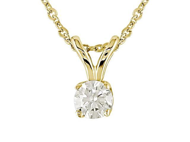 14K Yellow Gold 1/6 ctw Diamond Solitaire Pendant