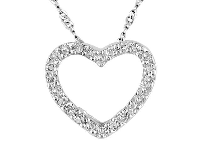14K white gold 1/10ctw diamond heart pendant with 17 inch chain