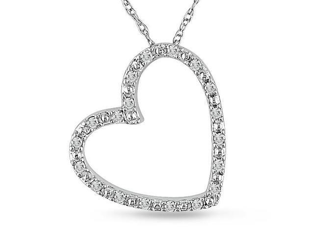 Diamond (1/10 ct.t.w.) Heart-Shape Pendant in 10k White-Gold