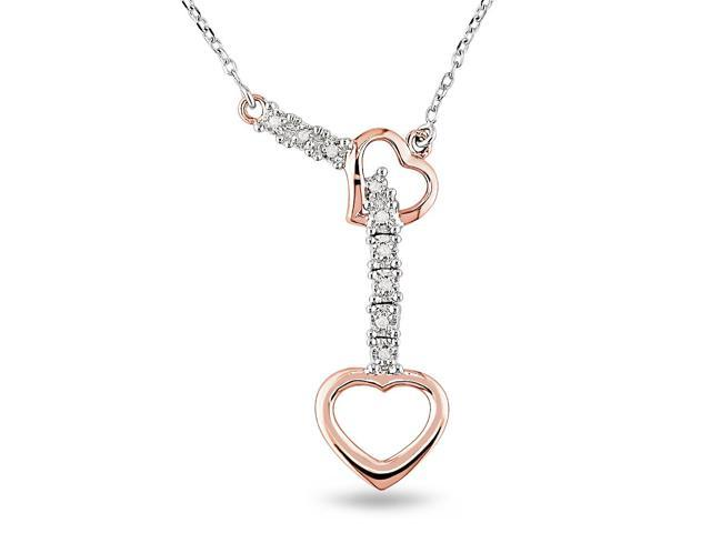 14k Two Tone Gold Diamond Heart Necklace TDW .05ct
