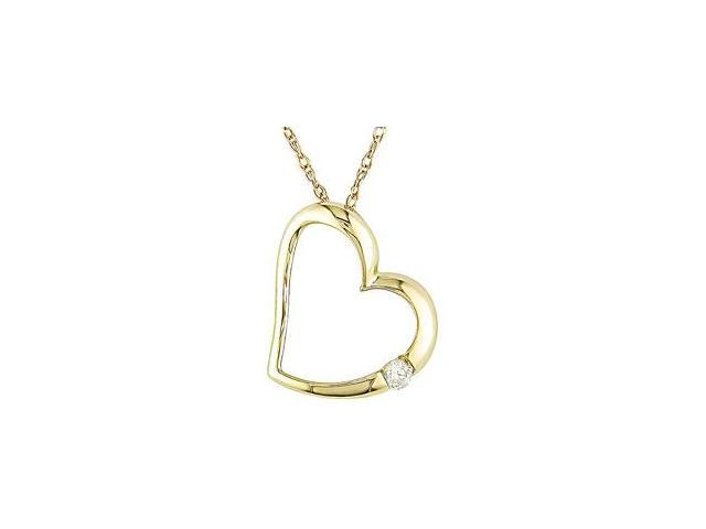 10k Yellow Gold Diamond Accent Heart Necklace