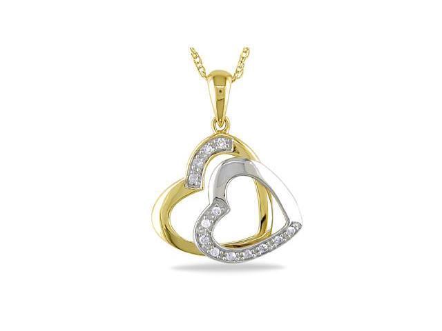10K Two-Tone Gold Diamond Double Heart Pendant