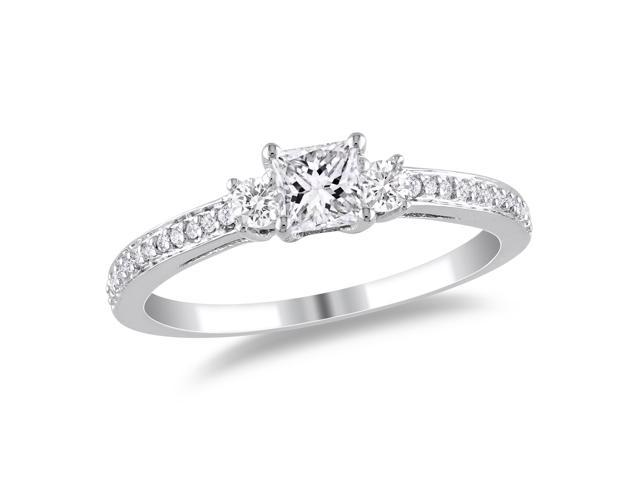 10k White Gold 1/2ct TDW Diamond Three Stone Ring (G-H, I1-I2)