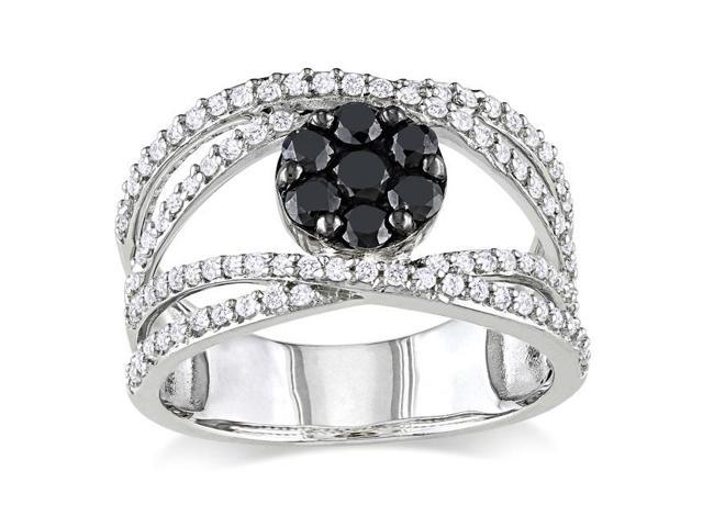 Sterling Silver 1ct TDW Black and White Diamond Ring (H-I, I2-I3)