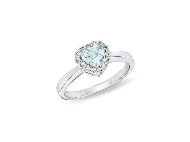 14k White Gold 1/3ct TGW Aquamarine and 0.07ct TDW Diamond Heart Ring (H-I, I2-I3)