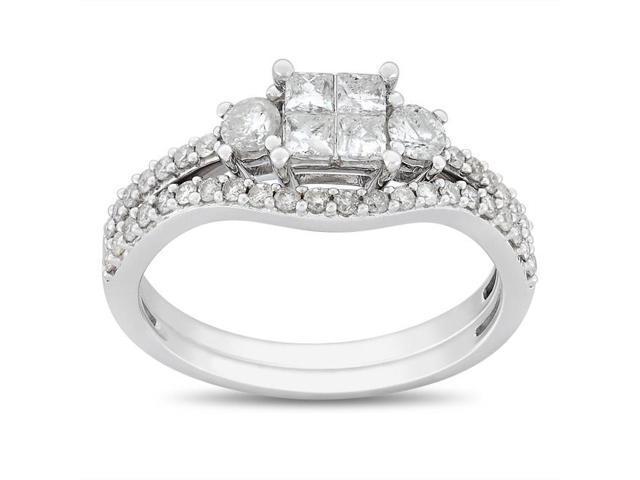 14k White Gold 1ct TDW Diamond Bridal Set Ring (H-I, I2-I3)