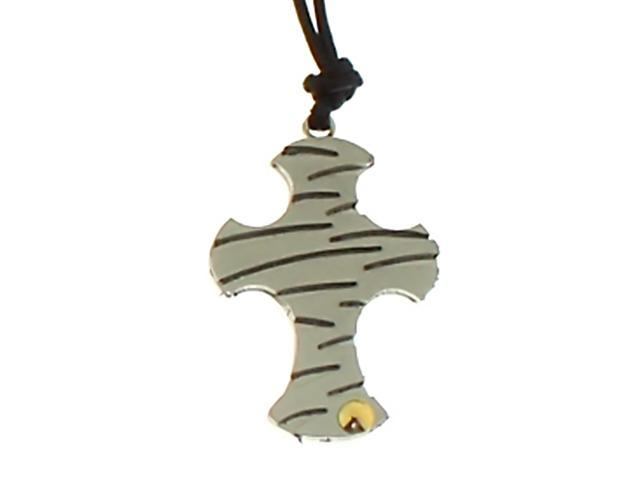 Amour Stainless Steel Black Cord Cross Pendant