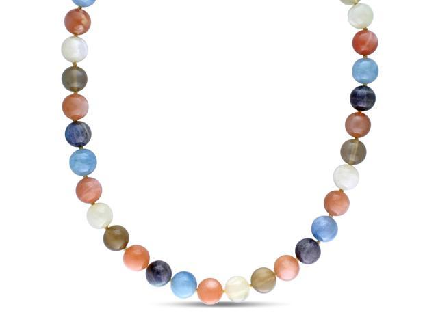 Amour Yellow Silver 301.98ct TGW Multi-Color Moonstone and Labradorite with Aquamarine Necklace (20in)
