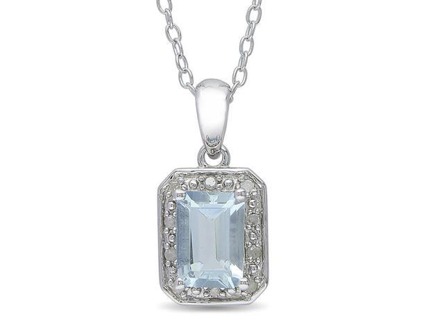 Amour Sterling Silver 1ct TGW Aquamarine and 0.04 ct TDW Diamond Pendant with Chain (H-I, I3) (18in)