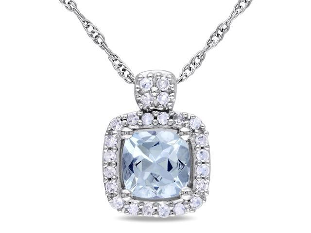 Amour 10k White Gold 1/2ct TGW Aquamarine and 1/10TDW Diamond Pendant with Chain (17in)