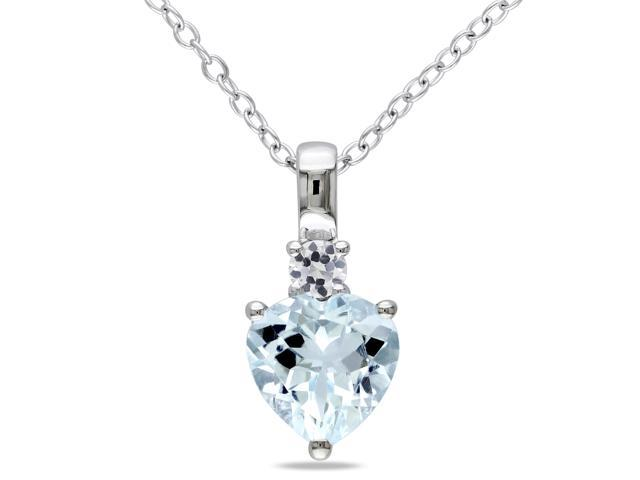 Amour Sterling Silver 1 7/8ct TGW Aquamarine and Created White Sapphire Pendant with Chain (18in)