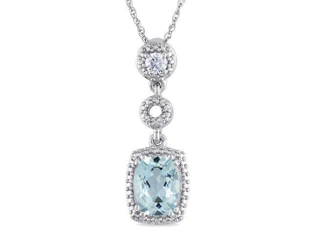 Amour Sterling Silver 1 1/5ct TGW Aquamarine and 1/10ct TDW Diamond Pendant with Chain (17in)