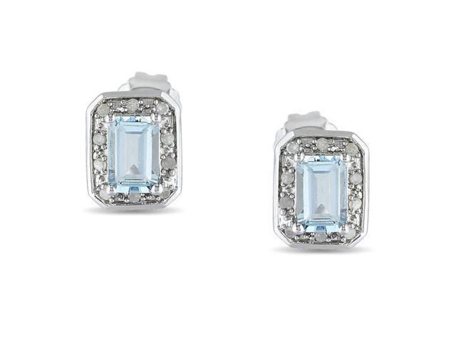 Amour Sterling Silver 1 1/10ct TGW Aquamarine and 1/10ct TDW Diamond Stud Earrings (H-I, I3)