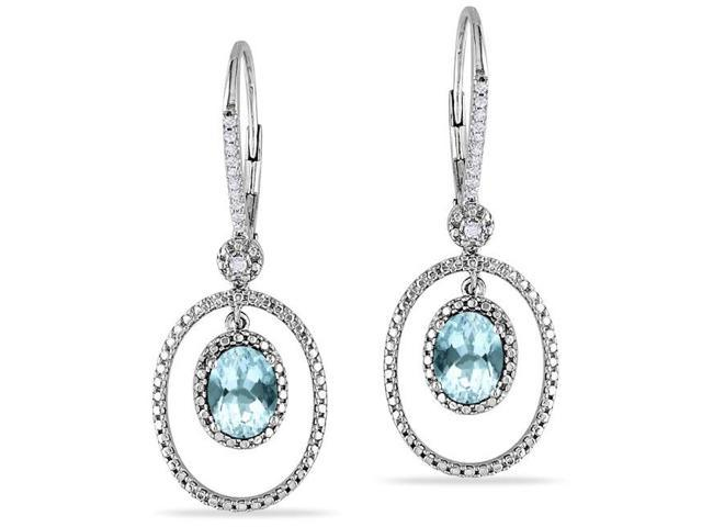 Amour Sterling Silver 2ct TGW Aquamarine and 1/8ct TDW Diamond Dangle Earrings (H-I, I2-I3)
