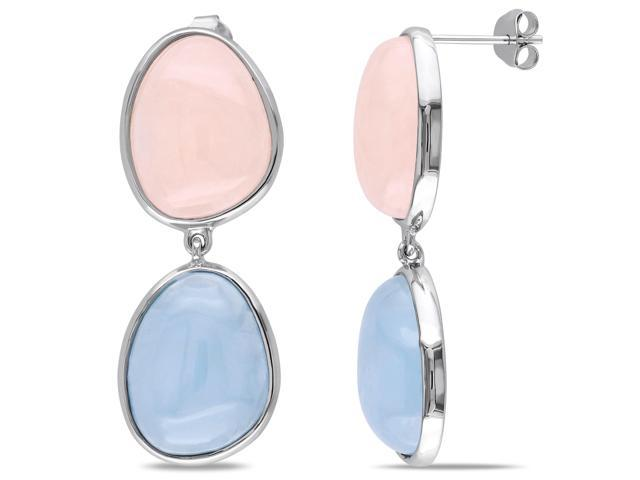 Amour Sterling Silver 35 3/4ct TGW Aquamarine and Morganite Dangle Earrings