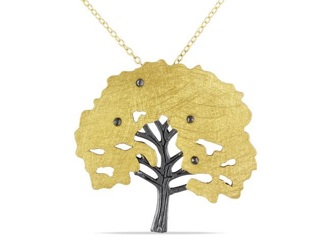 Amour Yellow Gold Flash Plated Silver Marcasite Tree Pendant with Chain (18in)