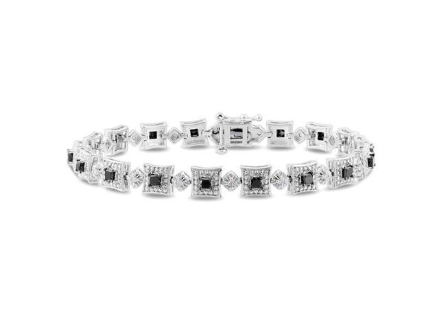Amour Sterling Silver 2ct TDW Black and White Diamond Bracelet (H-I, I3) (7in)
