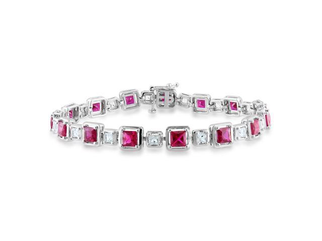 Amour Sterling Silver 7 1/2ct TGW Created Ruby and Created White Sapphire Bracelet (7in)
