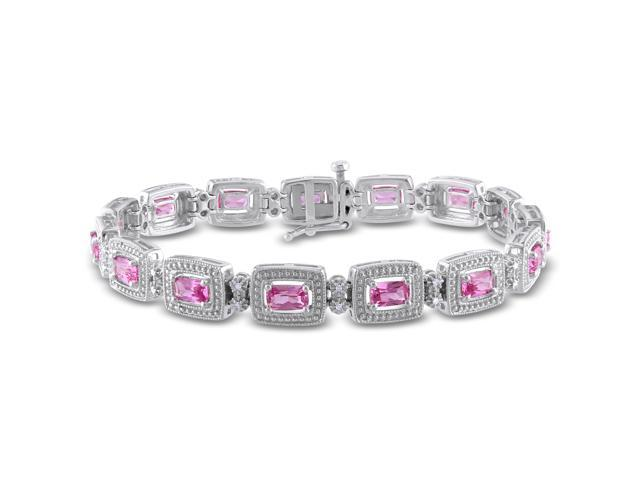 Amour Sterling Silver 3 3/4ct TGW Amethyst and 1/10ct TDW Diamond Bracelet (H-I, I2-I3) (7in)