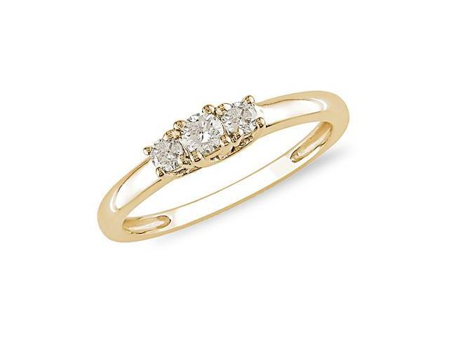 Amour 10k Yellow Gold 1/4ct TDW Diamond Three Stone Ring (H-I, I3)