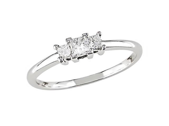 Amour 10k White Gold 1/4ct TDW Diamond Three Stone Ring (H-I, I3)