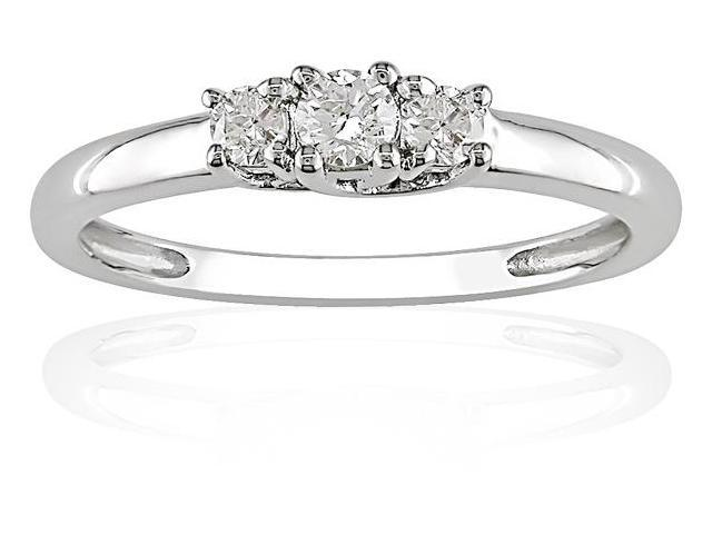 Amour 10k White Gold 1/4ct TDW Diamond Three Stone Ring (H-I, I2-I3)