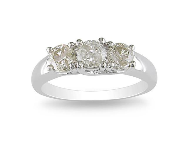 Amour 14k White Gold 1ct TDW Diamond Three Stone Ring (H-I, I2-I3)