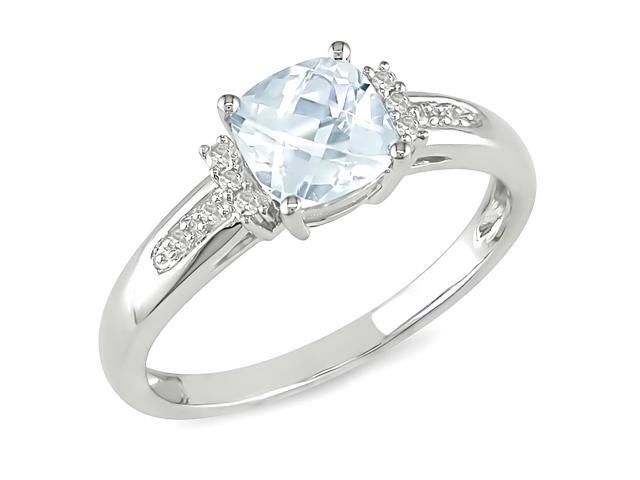 Amour 10k White Gold 3/4ct TGW Aquamarine with 1/4ct TDW Black and White Diamond Ring (H-I, I2-I3)