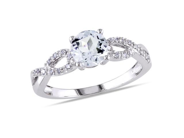Amour 10k White Gold 3/4ct TGW Aquamarine and 1/10ct TDW Diamond Ring (G-H, I1-I2)