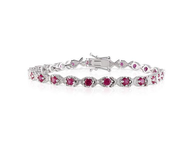 Sterling Silver 4 1/3ct TGW Created Ruby and 0.02ct TDW Diamond Tennis Bracelet (H-I, I3) (7in)