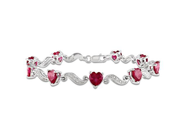 Sterling Silver 9 1/10ct TGW Created Ruby and 0.02ct TDW Diamond Heart Bracelet (G-H, I3) (7in)