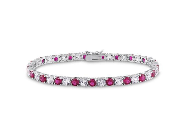 Sterling Silver 14 1/2ct TGW Created Ruby and Created White Sapphire Tennis Bracelet (7.25in)