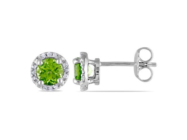 Sterling Silver 1 1/8ct TGW Peridot and 0.07ct TDW Diamond Stud Earrings (G-H, I3)