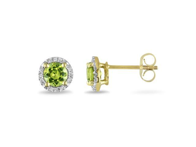 10k Yellow Gold 1 1/8ct TGW Peridot and 0.07ct TDW Diamond Stud Earrings (G-H, I2-I3)