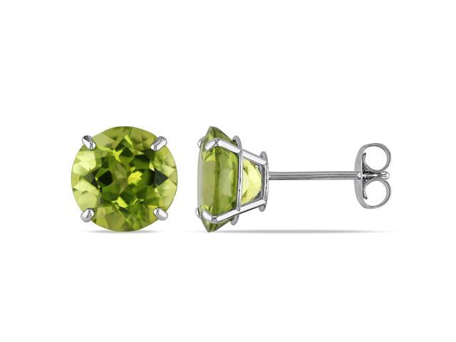 14k White Gold 4ct TGW Peridot Solitaire Earrings