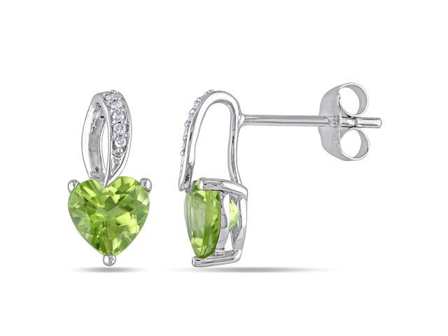 10k White Gold 1 3/4ct TGW Peridot 0.03ct TDW Diamond Stud Earrings (G-H, I2-I3)