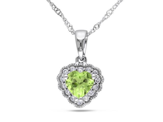 Amour 10k White Gold 1/2ct TGW Peridot and 0.07ct TDW Diamond Heart Pendant (G-H, I2-I3) (17in)