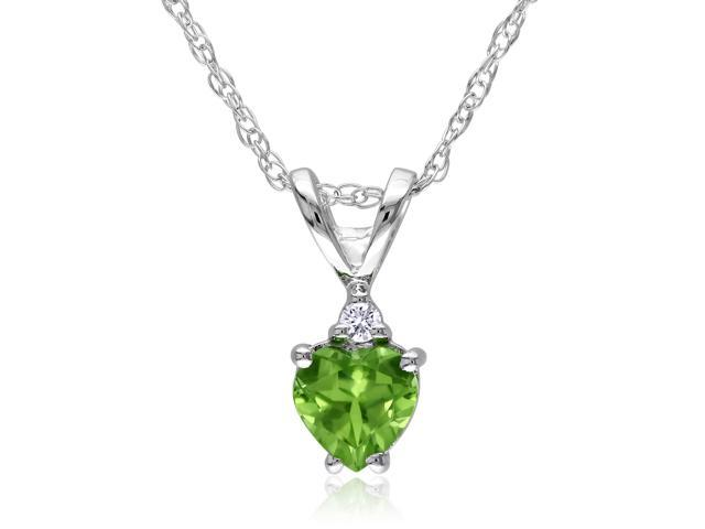 Amour 10k White Gold 1/2ct TGW Peridot and 0.02ct TDW Diamond Heart Pendant (G-H, I1-I2) (17in)