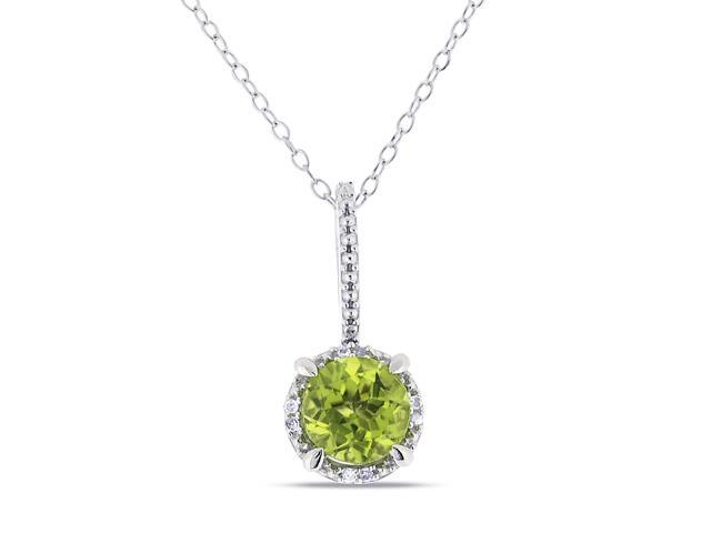 Amour Sterling Silver 1 1/2ct TGW Peridot and 0.03ct TDW Diamond Halo Pendant (G-H, I3) (18in)