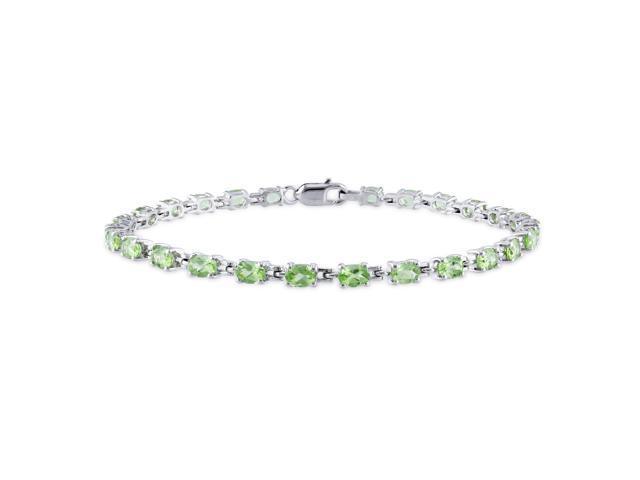 Amour Sterling Silver 4 2/5ct TGW Peridot Link Bracelet (7 in)
