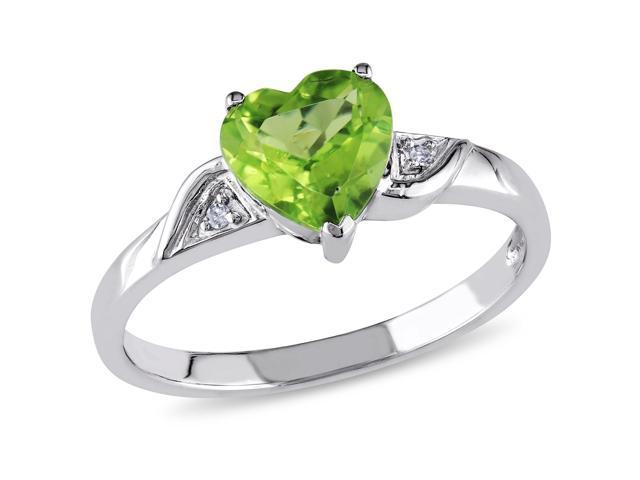 Amour 10k White Gold 1 1/3ct TGW Peridot and 0.01ct TDW Diamond Heart Ring (G-H, I2-I3)