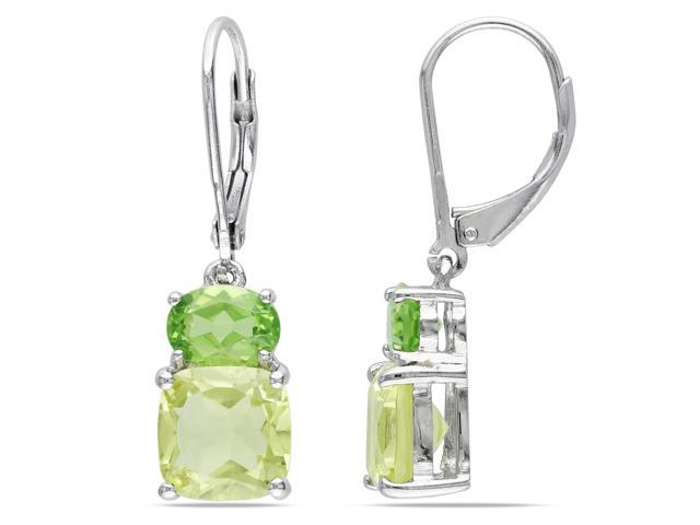 Amour Sterling Silver 5 7/8ct TGW Peridot and Lemon Quartz Dangle Earrings